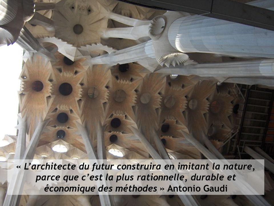« L'architecte du futur construira en imitant la nature, parce que c'est la plus rationnelle, durable et économique des méthodes » Antonio Gaudi