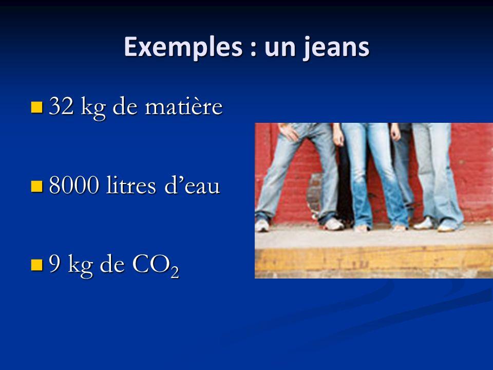 Exemples : un jeans 32 kg de matière 8000 litres d'eau 9 kg de CO2
