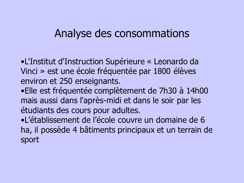 Analyse des consommations