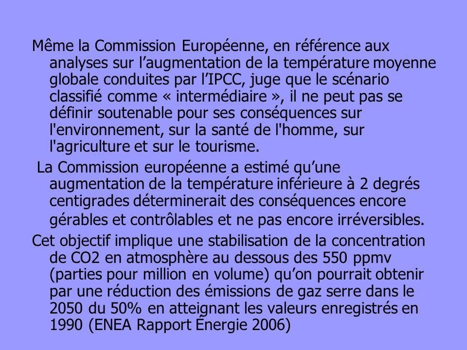 Même la Commission Européenne, en référence aux analyses sur l'augmentation de la température moyenne globale conduites par l'IPCC, juge que le scénario classifié comme « intermédiaire », il ne peut pas se définir soutenable pour ses conséquences sur l environnement, sur la santé de l homme, sur l agriculture et sur le tourisme.