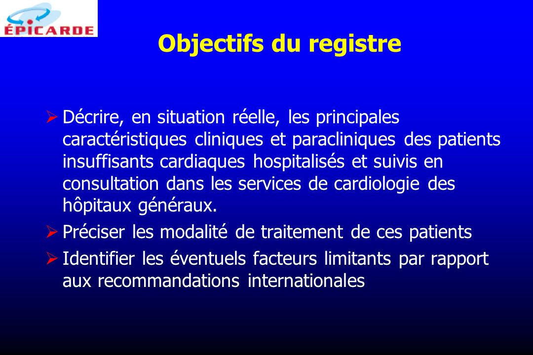 Objectifs du registre