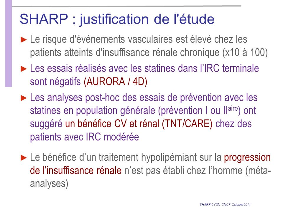SHARP : justification de l étude