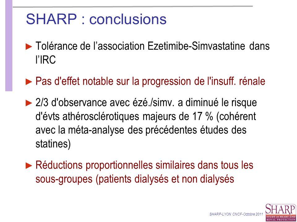 SHARP : conclusions Tolérance de l'association Ezetimibe-Simvastatine dans l'IRC. Pas d effet notable sur la progression de l insuff. rénale.