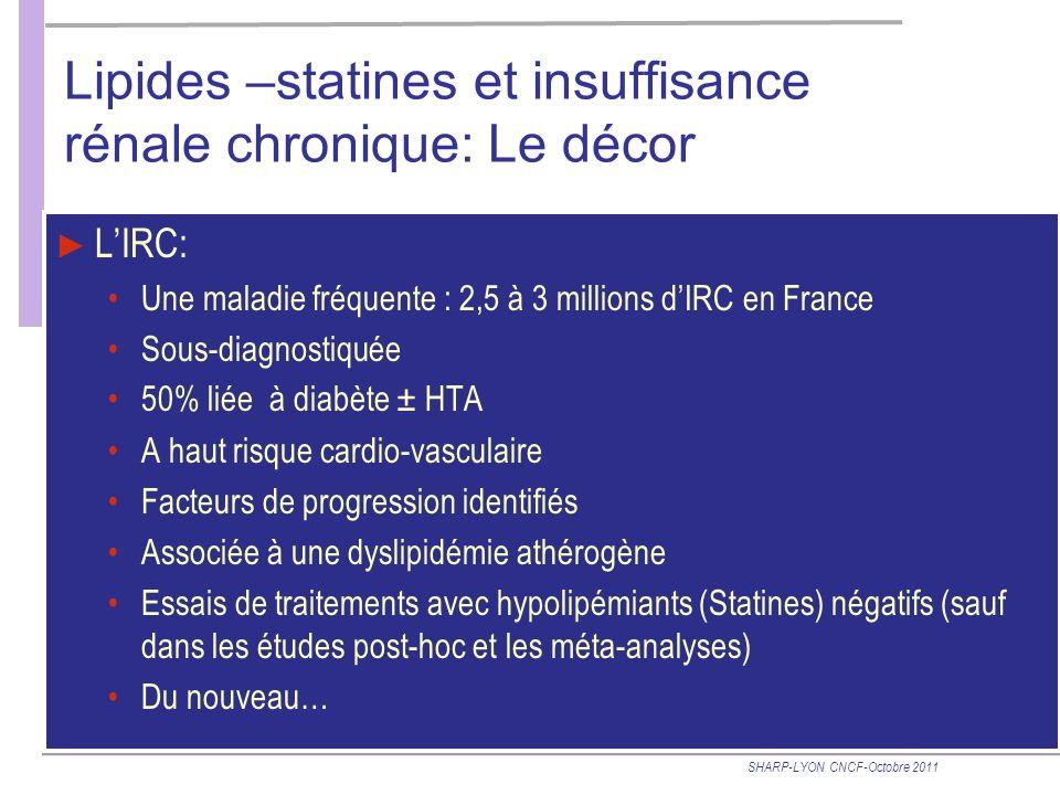 Lipides –statines et insuffisance rénale chronique: Le décor