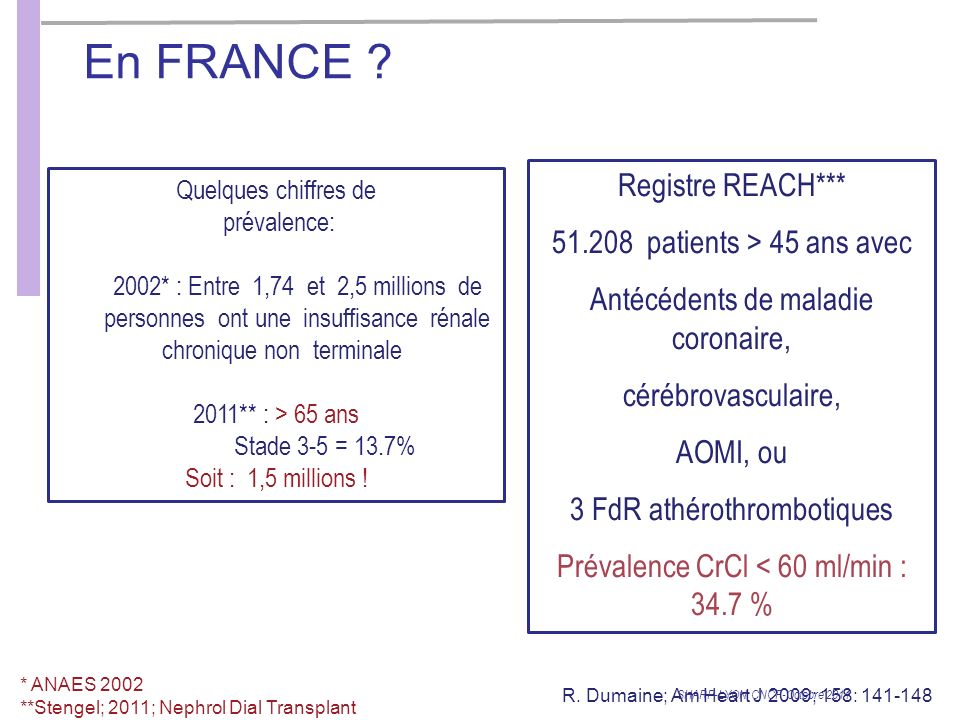 En FRANCE Registre REACH*** patients > 45 ans avec