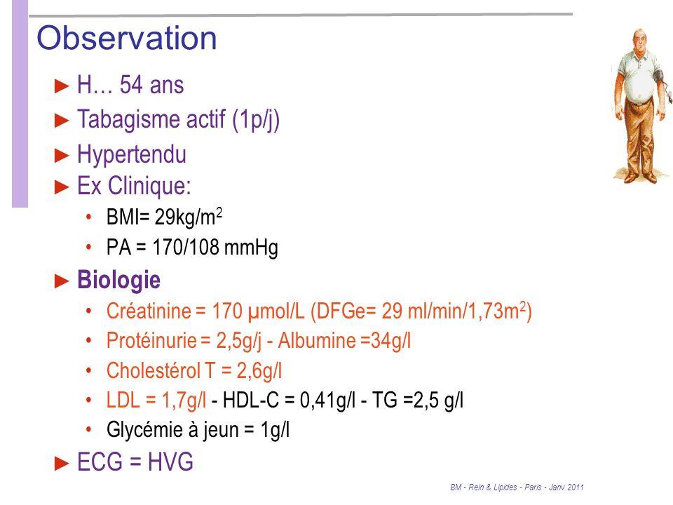 Observation H… 54 ans Tabagisme actif (1p/j) Hypertendu Ex Clinique: