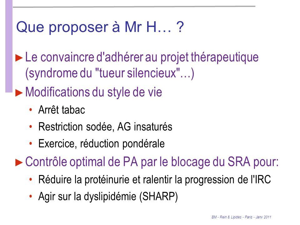 Que proposer à Mr H… Le convaincre d adhérer au projet thérapeutique (syndrome du tueur silencieux …)