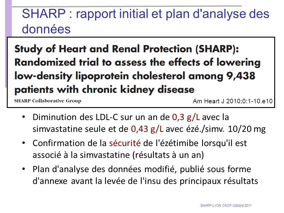 SHARP : rapport initial et plan d analyse des données