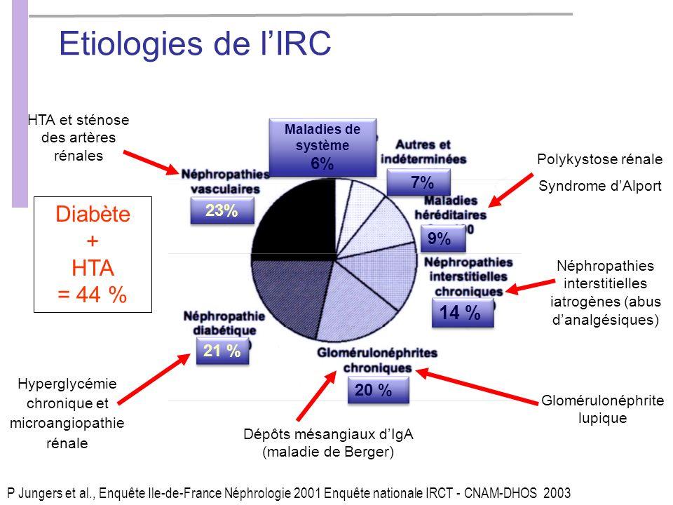 Etiologies de l'IRC Diabète + HTA = 44 % 14 % 6% 7% 23% 9% 21 % 20 %