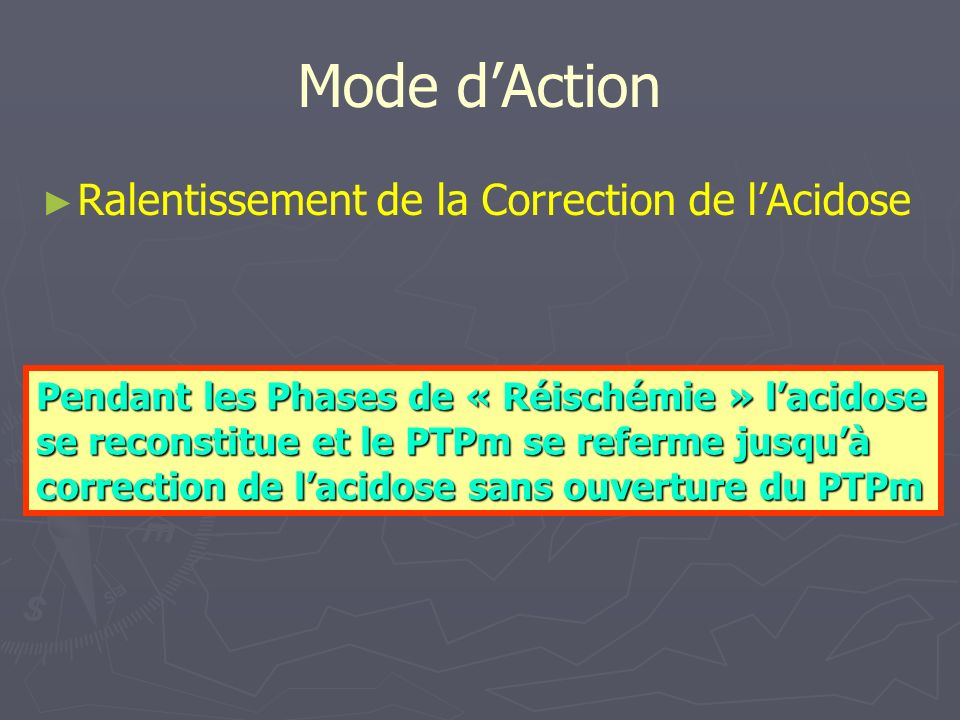 Mode d'Action Ralentissement de la Correction de l'Acidose