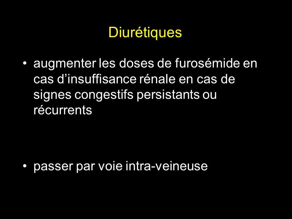 Diurétiquesaugmenter les doses de furosémide en cas d'insuffisance rénale en cas de signes congestifs persistants ou récurrents.