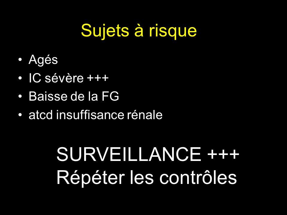 SURVEILLANCE +++ Répéter les contrôles Sujets à risque Agés