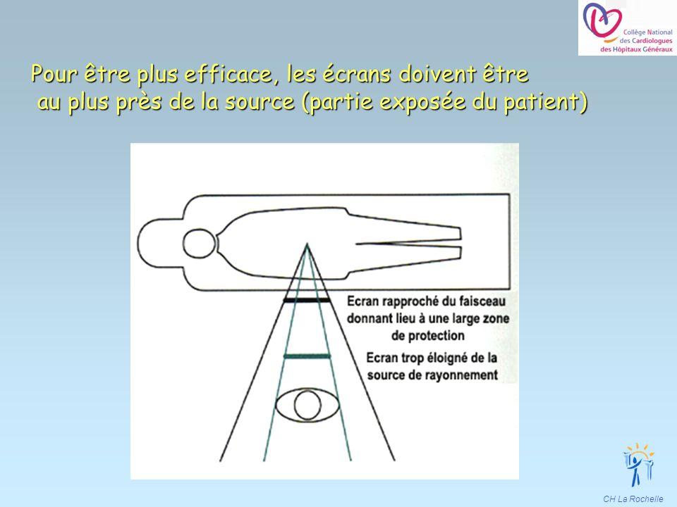 Pour être plus efficace, les écrans doivent être au plus près de la source (partie exposée du patient)
