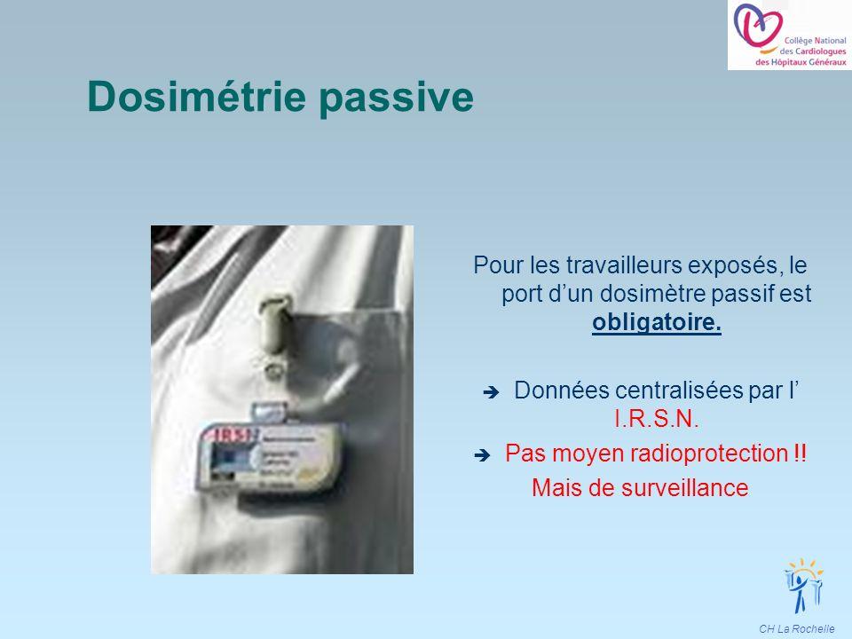 Dosimétrie passive Pour les travailleurs exposés, le port d'un dosimètre passif est obligatoire. Données centralisées par l' I.R.S.N.