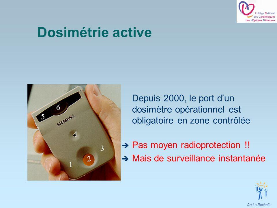Dosimétrie active Depuis 2000, le port d'un dosimètre opérationnel est obligatoire en zone contrôlée.