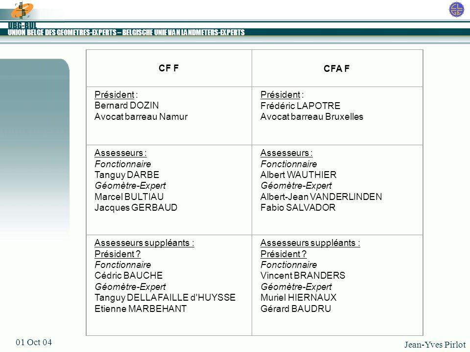 CF F CFA F. Président : Bernard DOZIN. Avocat barreau Namur. Frédéric LAPOTRE. Avocat barreau Bruxelles.