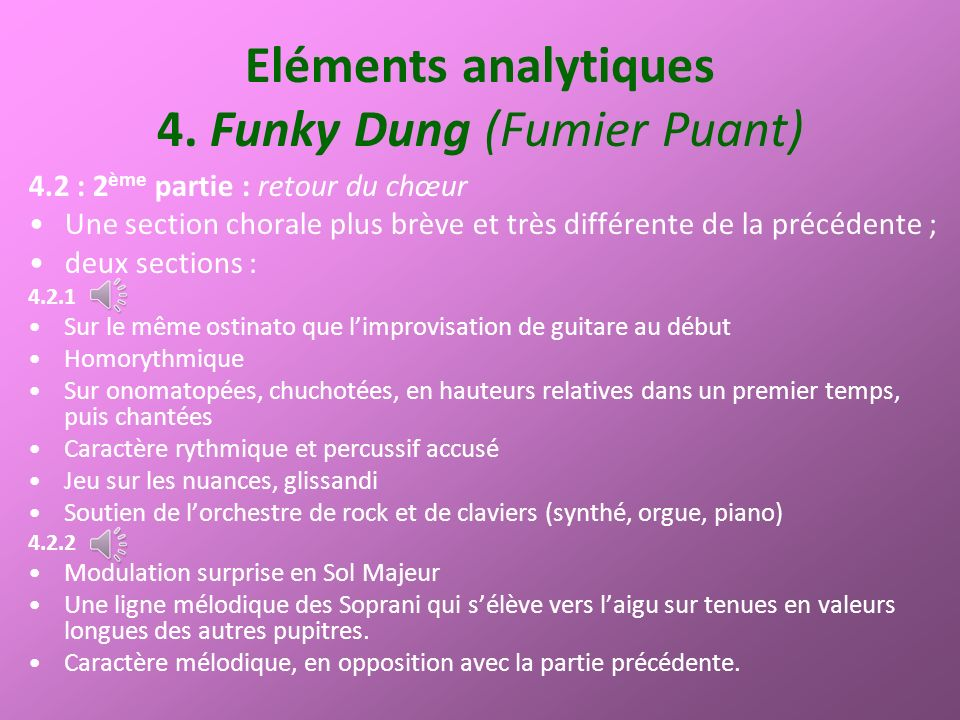 Eléments analytiques 4. Funky Dung (Fumier Puant)