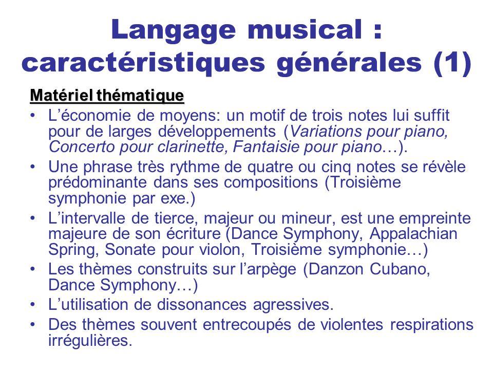 Langage musical : caractéristiques générales (1)