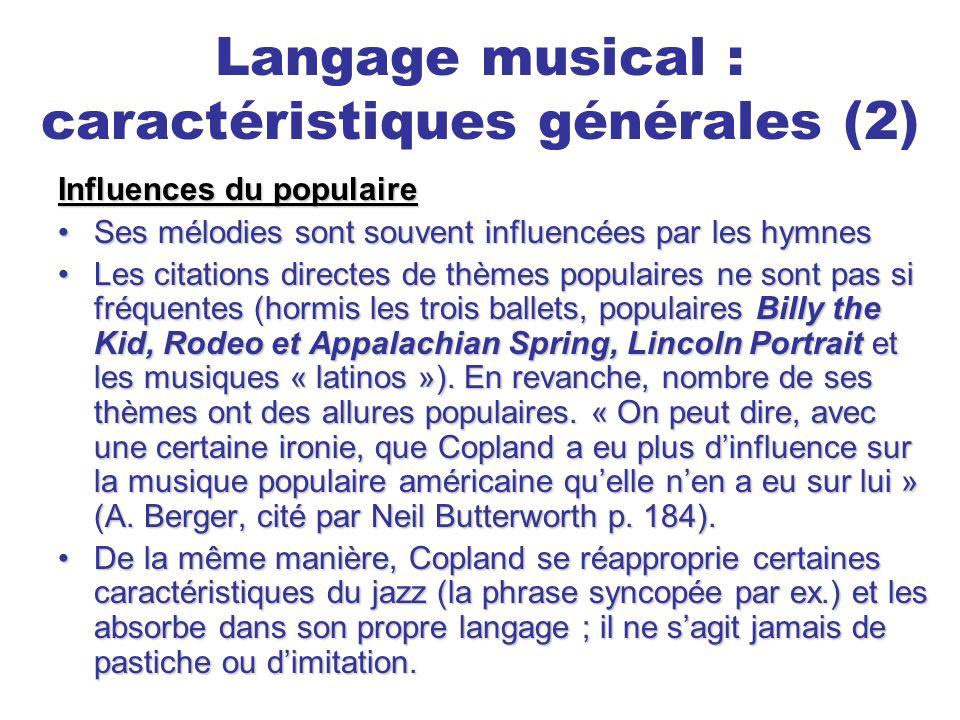 Langage musical : caractéristiques générales (2)