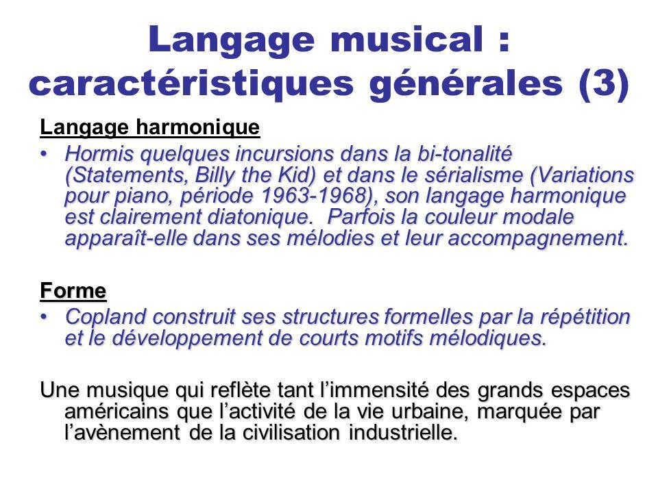 Langage musical : caractéristiques générales (3)