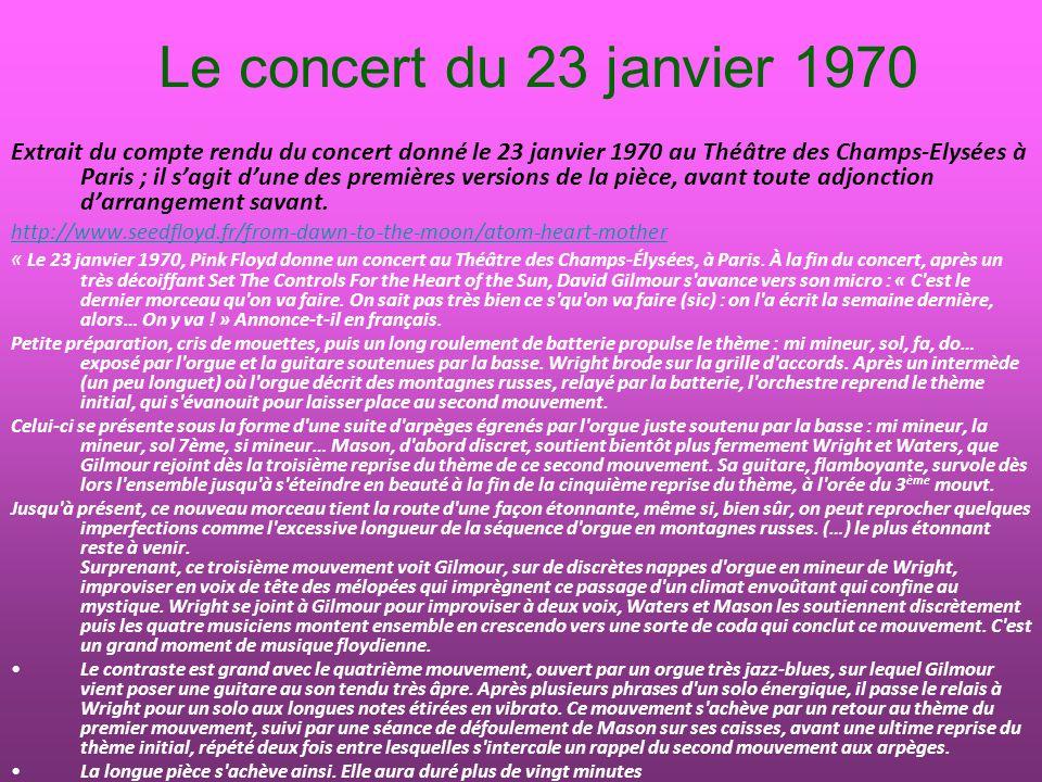 Le concert du 23 janvier 1970