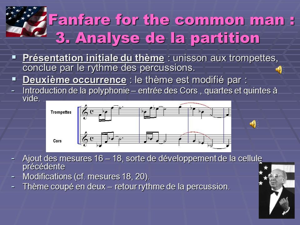 Fanfare for the common man : 3. Analyse de la partition
