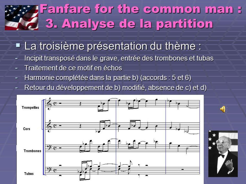 Fanfare for the common man : 3. Analyse de la partition