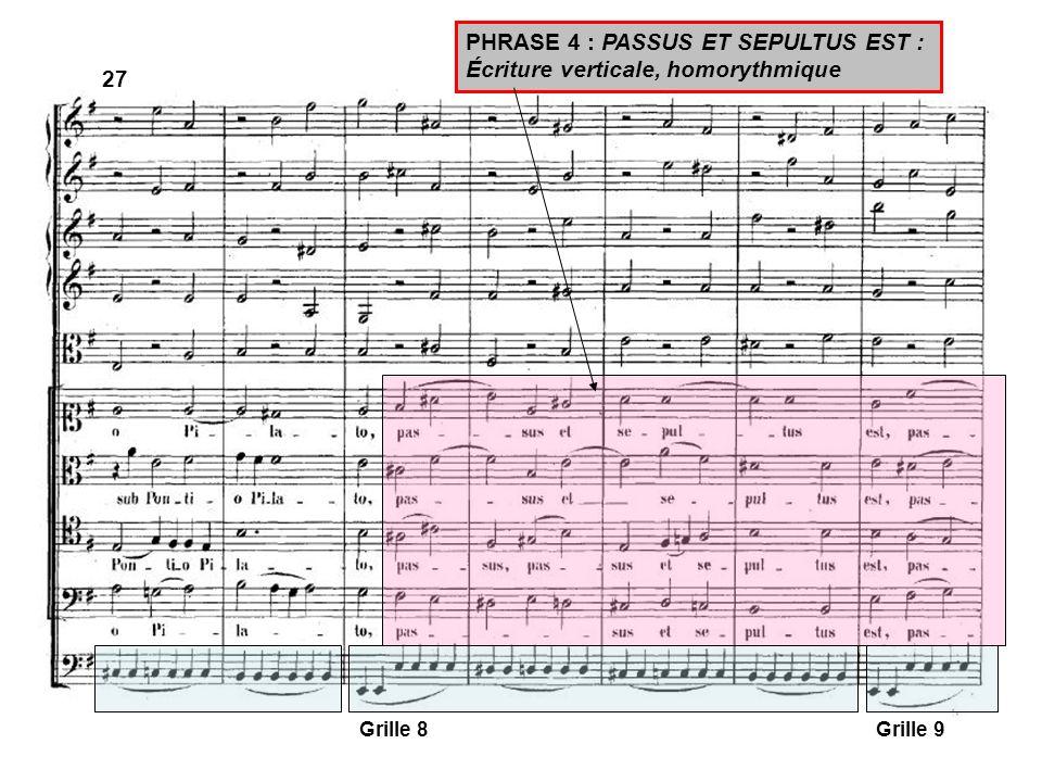 PHRASE 4 : PASSUS ET SEPULTUS EST : Écriture verticale, homorythmique