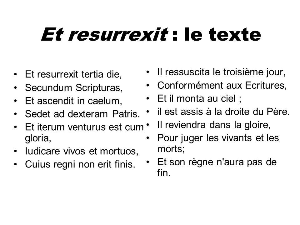 Et resurrexit : le texte