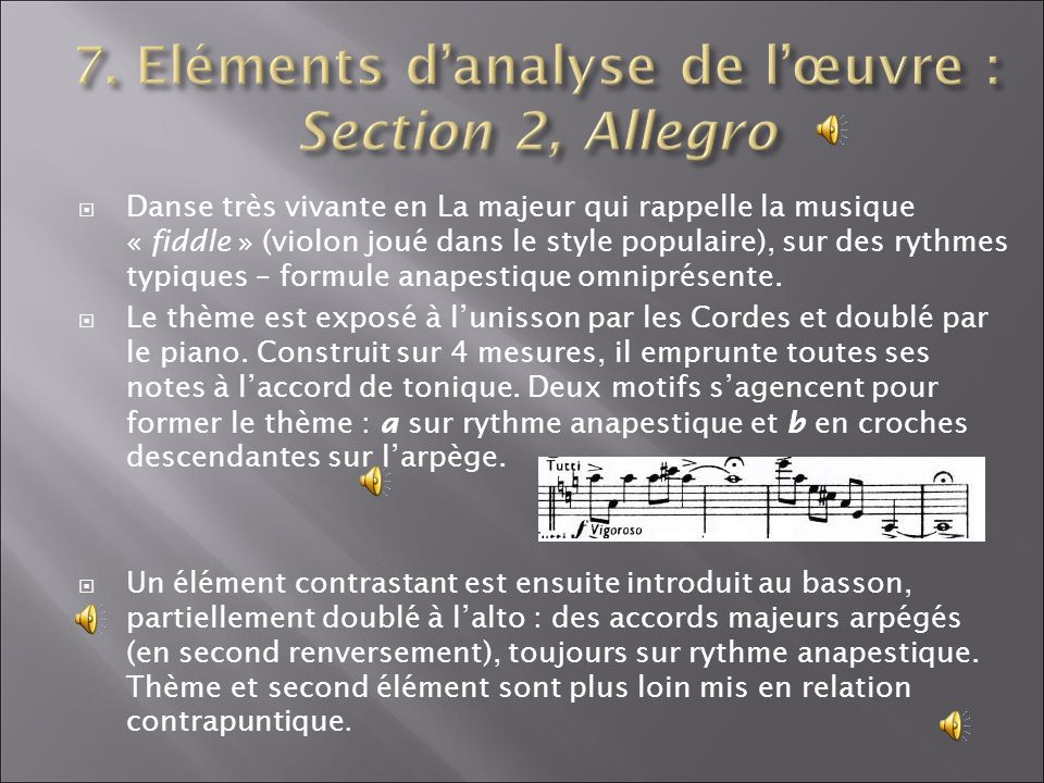 7. Eléments d'analyse de l'œuvre : Section 2, Allegro