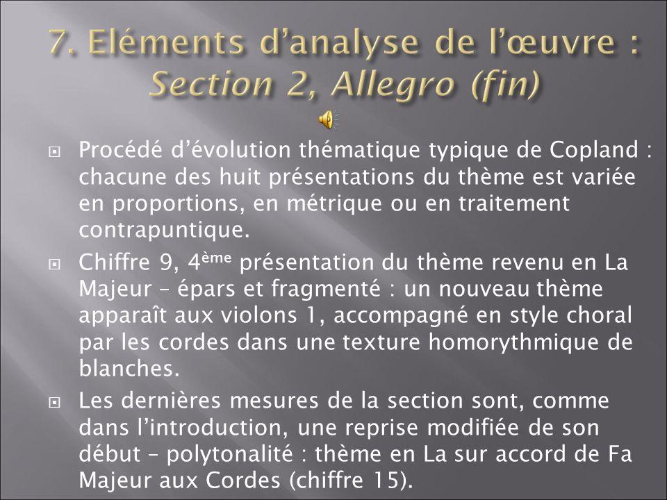 7. Eléments d'analyse de l'œuvre : Section 2, Allegro (fin)