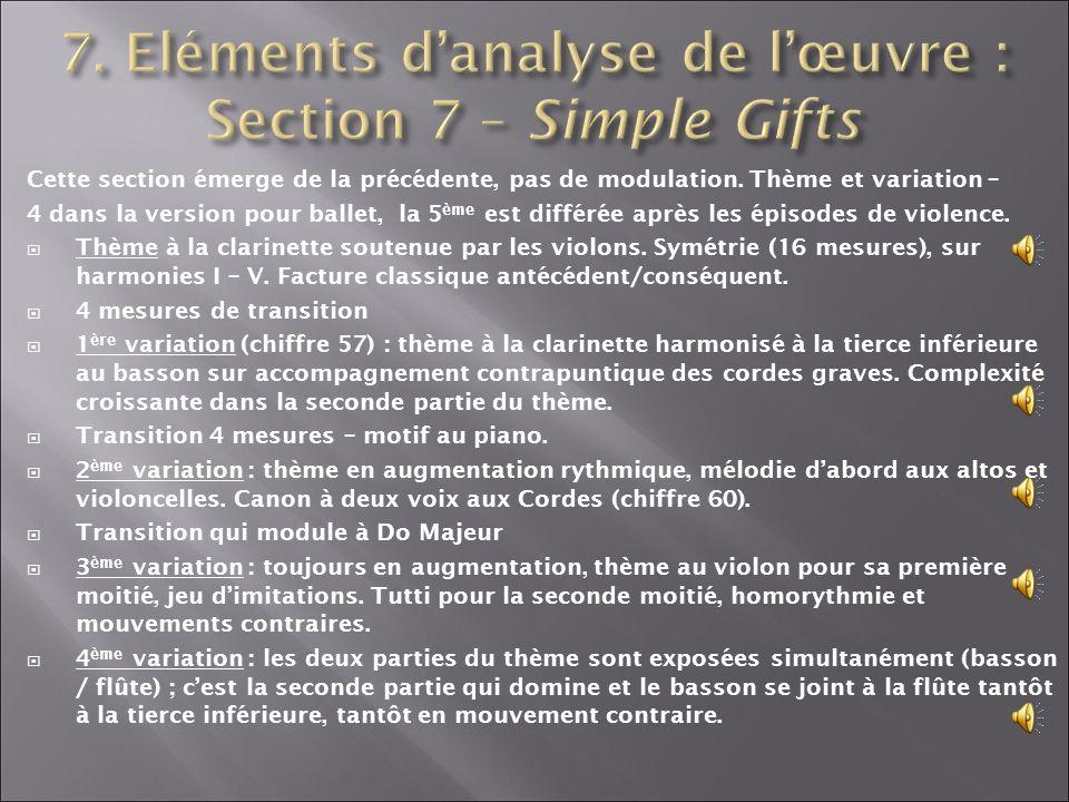 7. Eléments d'analyse de l'œuvre : Section 7 – Simple Gifts