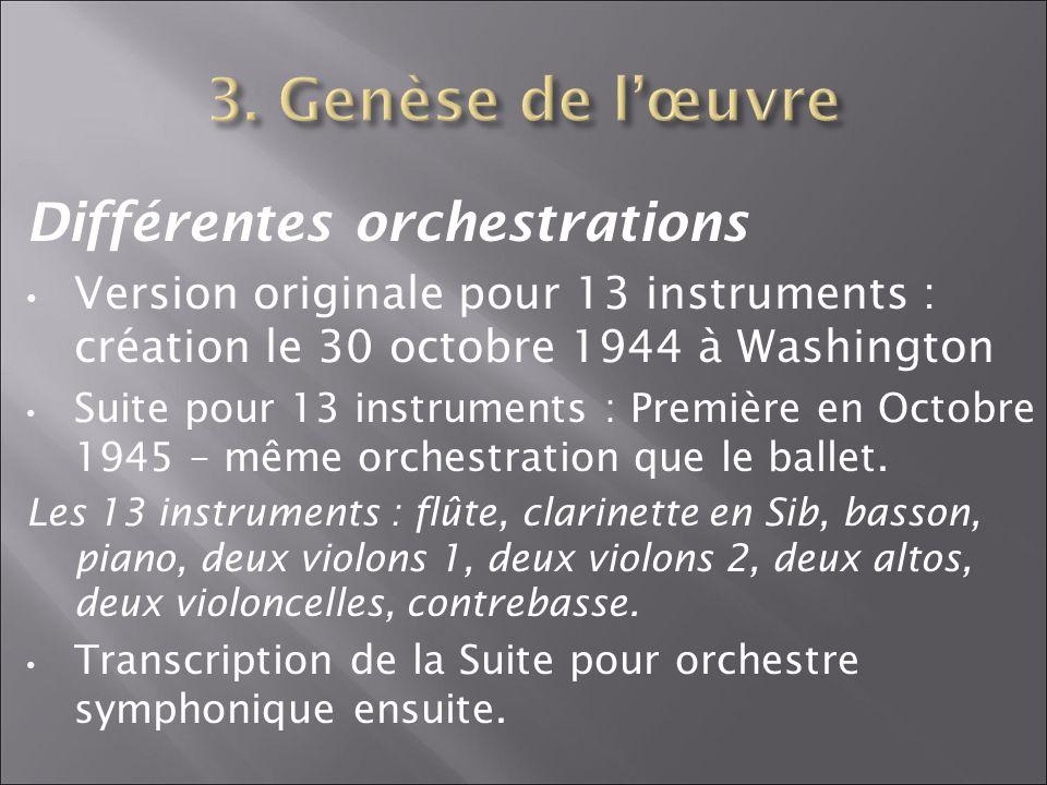 3. Genèse de l'œuvre Différentes orchestrations