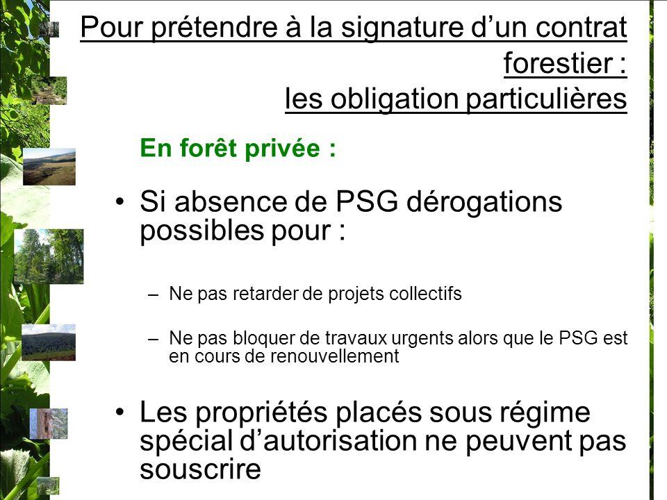 Si absence de PSG dérogations possibles pour :