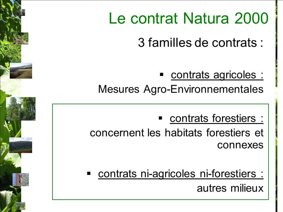 Le contrat Natura 2000 3 familles de contrats : contrats agricoles :
