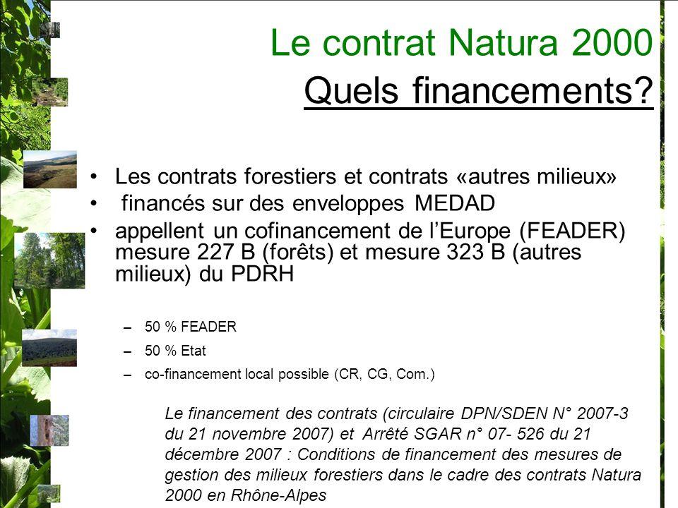 Le contrat Natura 2000 Quels financements