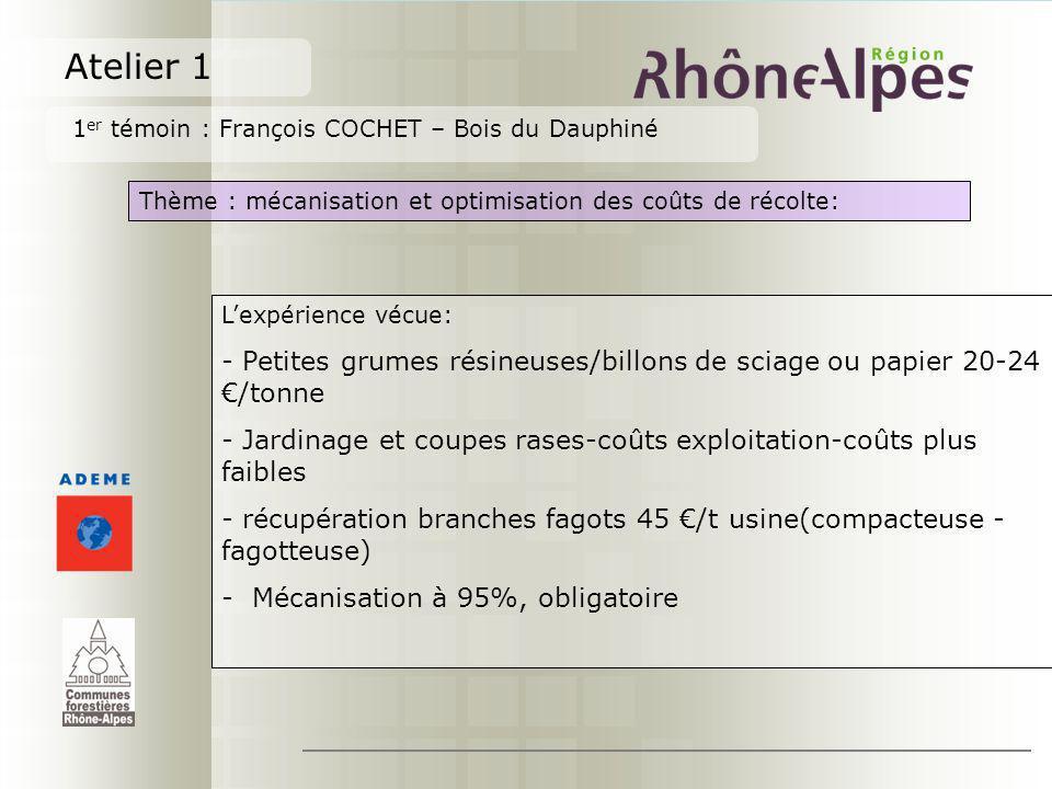Atelier 1 1er témoin : François COCHET – Bois du Dauphiné. Thème : mécanisation et optimisation des coûts de récolte: