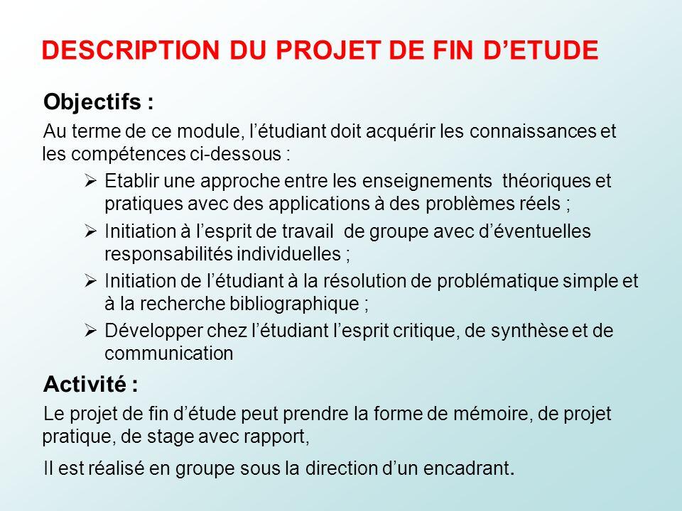 DESCRIPTION DU PROJET DE FIN D'ETUDE