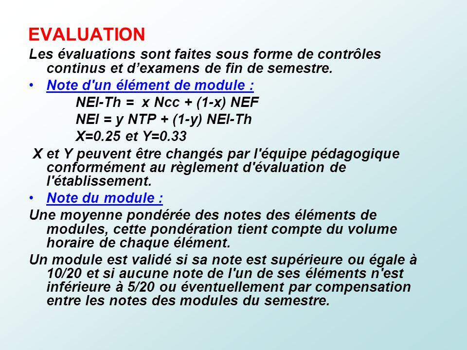 EVALUATION Les évaluations sont faites sous forme de contrôles continus et d'examens de fin de semestre.