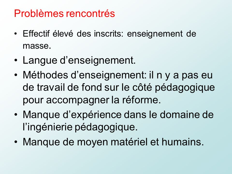 Langue d'enseignement.