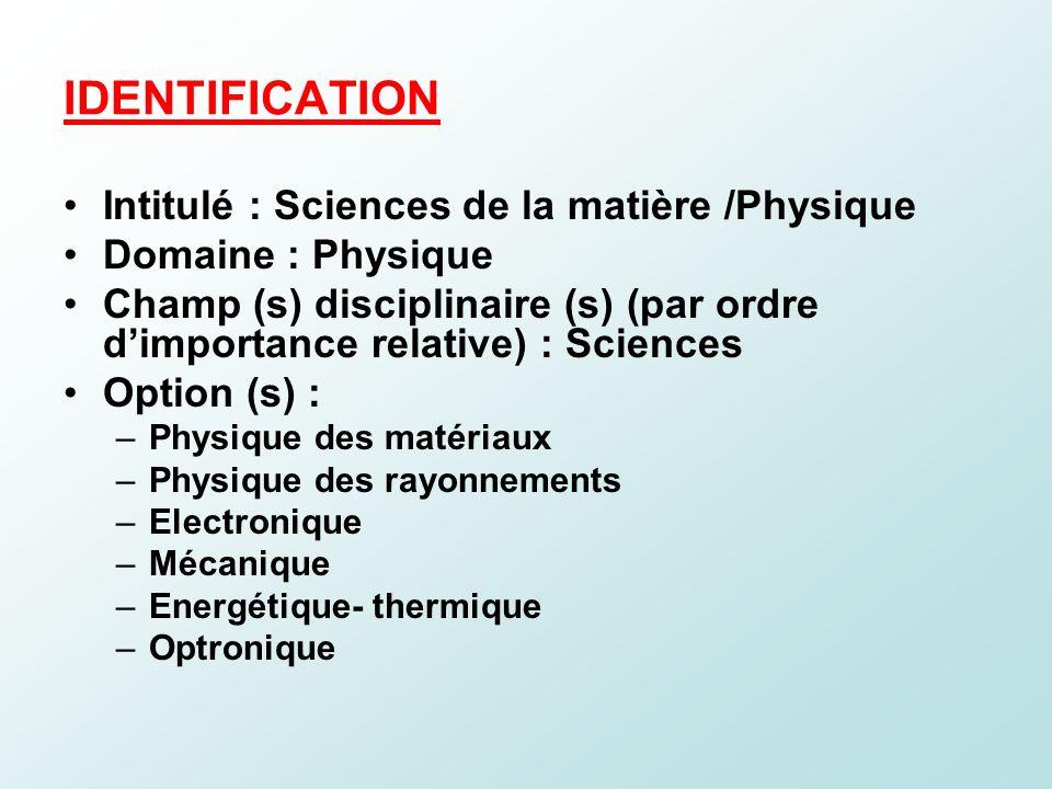 IDENTIFICATION Intitulé : Sciences de la matière /Physique