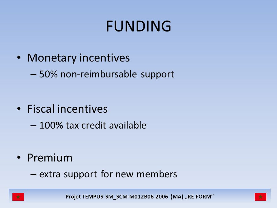 FUNDING Monetary incentives Fiscal incentives Premium