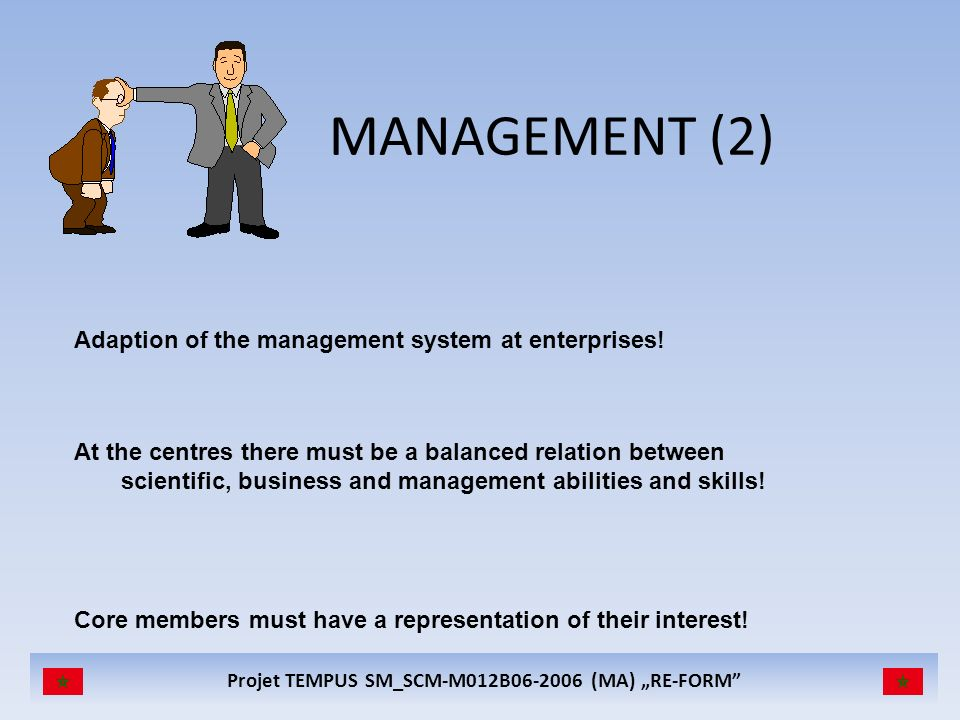 MANAGEMENT (2) Adaption of the management system at enterprises!