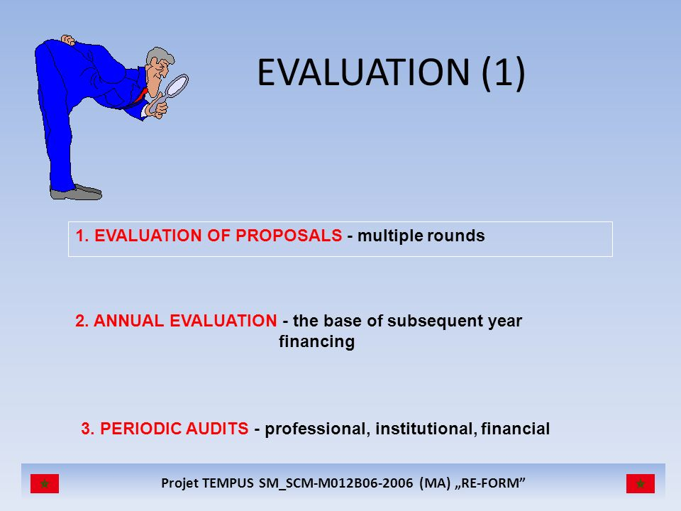 EVALUATION (1) 1. EVALUATION OF PROPOSALS - multiple rounds