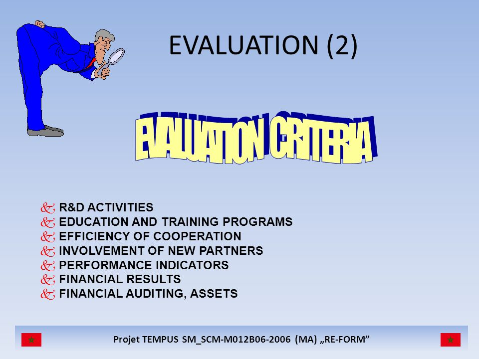 EVALUATION (2) EVALUATION CRITERIA R&D ACTIVITIES