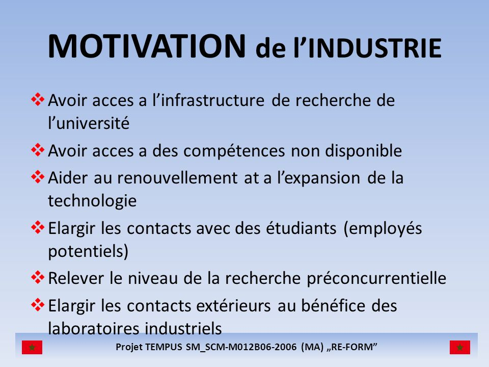 MOTIVATION de l'INDUSTRIE