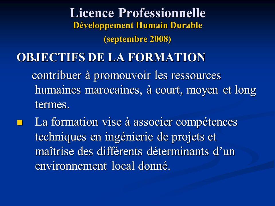 Licence Professionnelle Développement Humain Durable (septembre 2008)