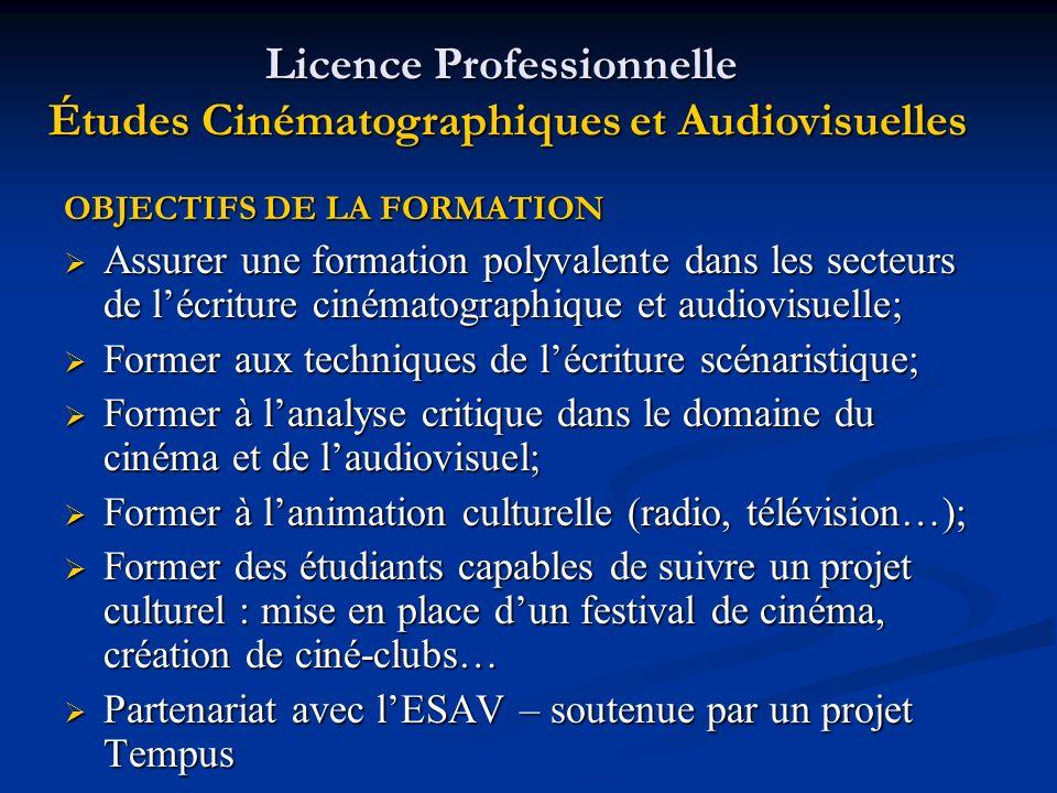 Licence Professionnelle Études Cinématographiques et Audiovisuelles