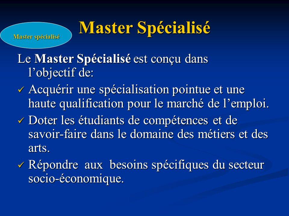 Master Spécialisé Le Master Spécialisé est conçu dans l'objectif de: