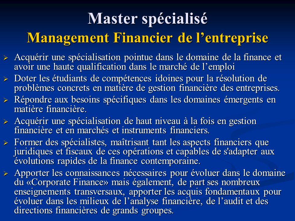 Master spécialisé Management Financier de l'entreprise
